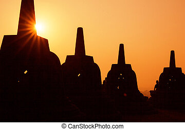 Silhouette Borobudur Temple, Yogyakarta, Java, Indonesia.