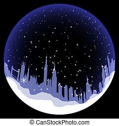 silhouette, boule de neige, vecteur, londres
