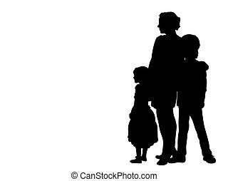 silhouette, bovenkant, kinderen, aanzicht, twee, moeder