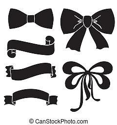 Silhouette bows, ribbons, parchment