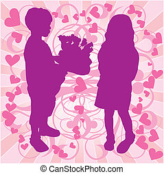 Silhouette boy & girl, love illustration - Silhouette boy &...