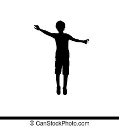 Silhouette boy jumping with raised hands up