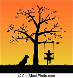 Silhouette boy on the swing with his dog