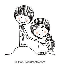 silhouette boy saving girl on quicksand vector illustration