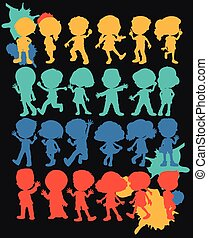Silhouette boys and girls
