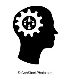 silhouette brain in head with gear and team work icon