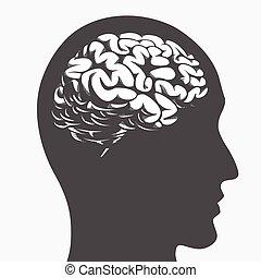 Silhouette brain inside human head side profile