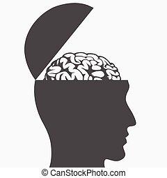Silhouette brain inside open head illustration drawing
