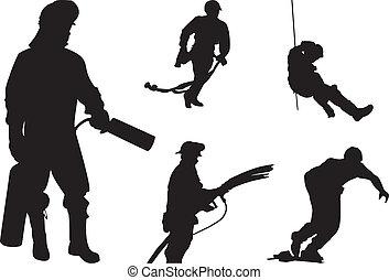 silhouette, brandweerman