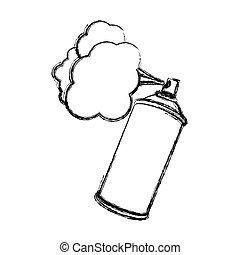 silhouette, brouillé, peinture, pulvérisation, aérosol, fumée
