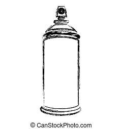 silhouette, brouillé, pulvérisation, boîte aérosol, bouteille, icône