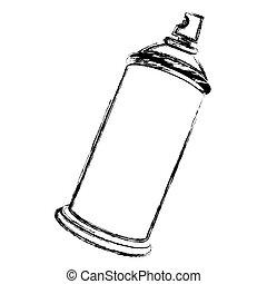 silhouette, brouillé, pulvérisation, boîte aérosol, bouteille, vue, côté, icône