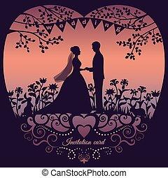 silhouette, bruidegom, bruid, uitnodiging, huwlijkskaart