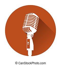 silhouette, buehne, weißes, mikrophon, retro, weinlese