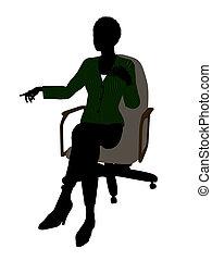 silhouette, buero, sitzen, geschäftsführung, amerikanische ,...