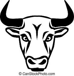 Silhouette Bull Head