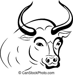 Silhouette bull head (taurus), close up on a white background