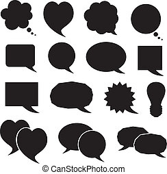 silhouette, bulles, ensemble, parole