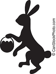 Silhouette bunny with basket - Silhouette image bunny...