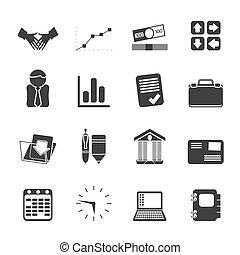 silhouette, bureau affaires, icône