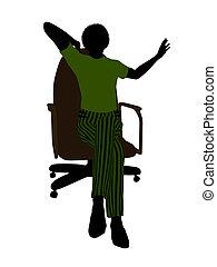silhouette, bureau, business, séance, cadre, femme, ...