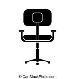silhouette, bureau, confort, conception, lieu travail, chaise