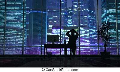 silhouette, bureau, fonctionnement tardif, informatique, homme