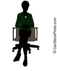 silhouette, bureau, séance, cadre, américain, africain ...