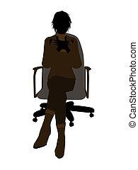 silhouette, bureau, séance, cadre, illustration, femme, ...