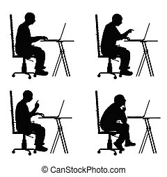 silhouette, bureau, séance, ordinateur portable, illustration, chaise, homme