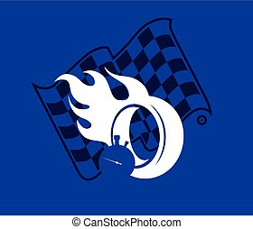 Silhouette burning wheel and checkered flag, racing background vector illustration