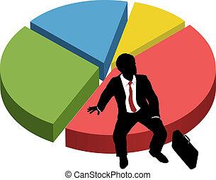 silhouette, business, asseoir, part, diagramme, marché