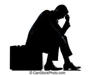 silhouette, business, fatigué, séance, une, désespoir, valise, homme