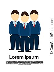 Silhouette Business Man Group Full Length Flat Vector...
