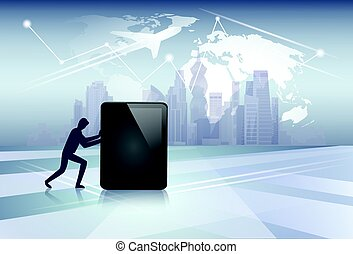 Silhouette Business Man Pushing Tablet Computer Electronic Gadget Network Communication