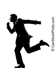 silhouette business man running profile - silhouette ...