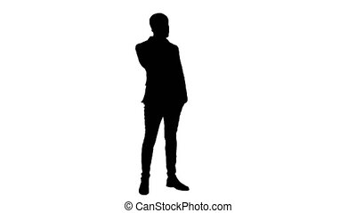 Silhouette business man talking on the phone