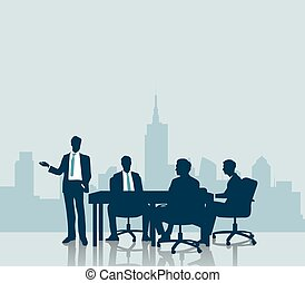 Silhouette Business meeting with city background