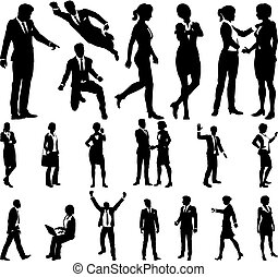 Silhouette Business People - A set of very high quality...