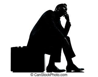 silhouette, business, séance, une, attente, valise, homme