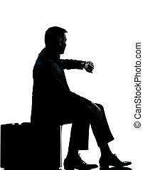 silhouette, business, séance, vérification, valise, fois, homme