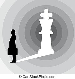 silhouette businessman and the shadow in the shape of king chess figure vector illustration isolated on white background. business leadership concept. Using shades of gray.