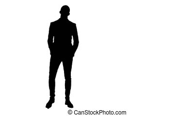 Silhouette Businessman presenting project to the camera