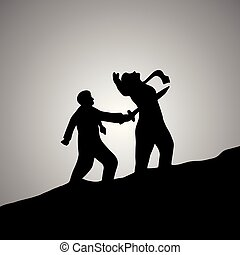 silhouette businessman stab at the back of his colleague...
