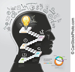 Silhouette businessman thinking idea, lightbulb staircase idea conceptual. Vector illustration. can be used for workflow layout, banner, diagram, number options, infographics, web design.