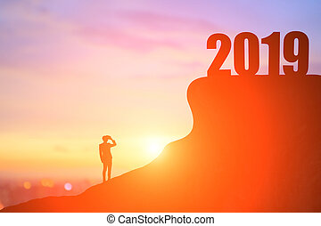 silhouette businessman with 2019