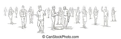 Silhouette Businessmen Shake Hands With Business People Group On Background, Businesspeople Shaking Hands Horizontal Banner