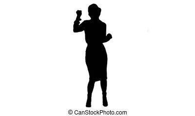 Silhouette Businesswoman dancing wildly celebrating successful project.