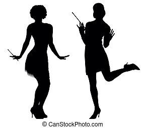 silhouette, cabaret, donne