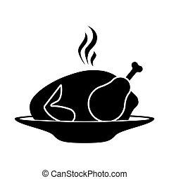 silhouette, caldo, arrosto, piatto, pietanza, monocromatico, pollo
